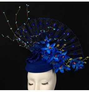 Women's royal blue hair accessories banquet party pillbox hat  headdress model show stage performance hair accessories