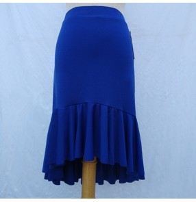 Women's royal blue latin dance skirts stage performance salsa samba chacha dance skirts