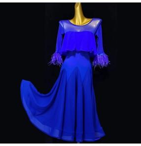Women's royal blue red ballroom dancing dresses foxtrot waltz tango dance dress for female