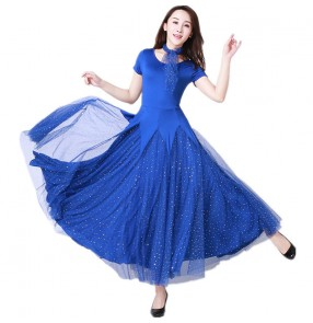 Women's royal blue short sleeves ballroom dancing dresses waltz tango dance dresses costumes
