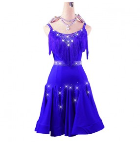 Women's royal blue tassels competition latin dance dresses robes de danse latine bleu royal