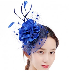 Women's royal blue wedding party pillbox hat banquet evening cocktail party fascinators veil hats hair accessories