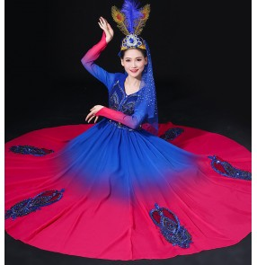 Women's royal blue with pink chinese folk dance costumes Xinjiang dance performance costume Uygur big swing skirt costumes
