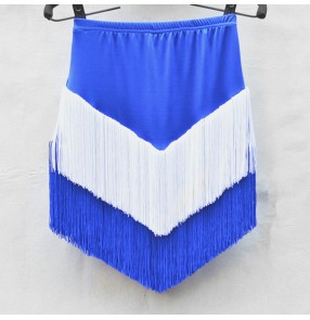 Women's royal blue with white tassels latin dance skirts salsa chacha dance skirts