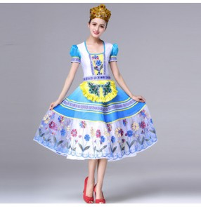 Women's Russian national folk dance dresses female blue colored European palace princess maid drama cosplay dress costumes