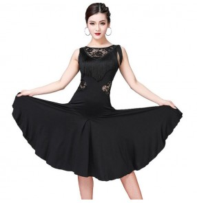 Women's salsa chacha rumba latin dance dresses female red black blue violet skirts competition dance dress costumes