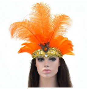 Women's samba dance ostrich feather headdress party masquerade party cosplay Christmas holiday festivals feather head crown head piece