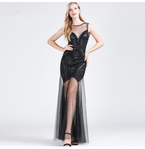 Women's sequin evening dresses cocktail banquet party host stage performance eveing dresses costumes