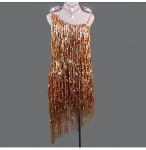 Women's sequin tassels competition latin dance dresses professional rumba samba chacha dance dresses