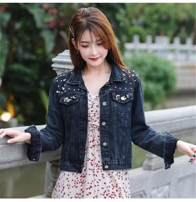 Women's short denim jacket women's beaded pearl loose spring and autumn shortcasual denim jacket