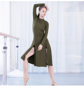 Women's side split modern dance latin dresses stage performance gymnastics practice dresses