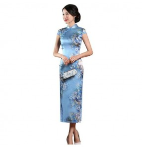 Women's silk blue printed chinese dresses chinese style retro traditional oriental qipao dresses cheongsam banquet evening cocktail party model dresses