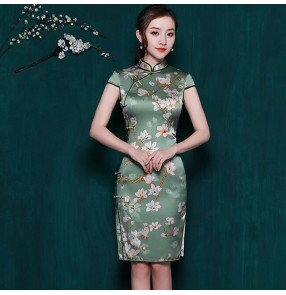 Women's silk chinese dress chinese traditional qipao cheongsam dresses host singers stage performance photos banquet evening party dress