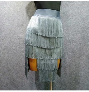 Women's silver black layers fringes latin dance skirt rhythm salsa rumba chacha dance skirts