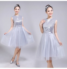 Women's silver chorus jazz singers dance dresses stage performance competition professional fairy cosplay dress