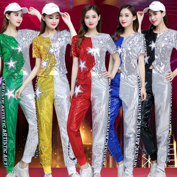 Women S Silver Gold Blue Sequins Jazz Dance Costumes Modern Dance Hiphop Dance Costumes Cheer Leaders Night Club Bar Singers Dance Tops And Pants