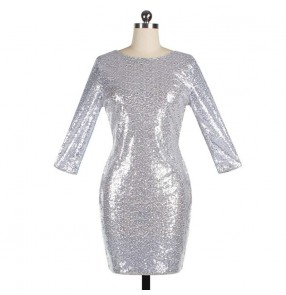 Women's silver gold sequin singers host jazz dance dresses stage performance dj party performing evening dreses