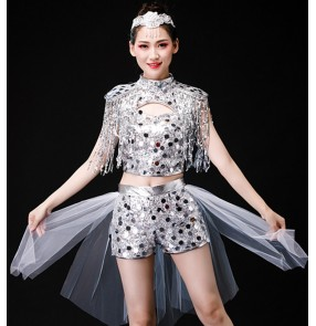 Women's silver jazz dance costumes hiphop dance costumes moedrn dance gogo dancers dj ds dance costumes