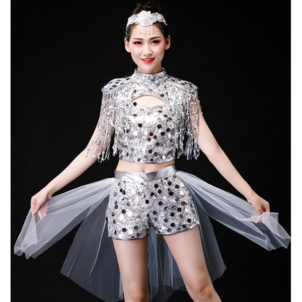 Women S Silver Jazz Dance Costumes Hiphop Dance Costumes Moedrn Dance Gogo Dancers Dj Ds Dance Costumes