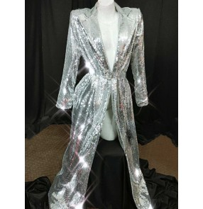 Women's silver sequin bling jazz dance long coats singer host model stage performance long cloak coats