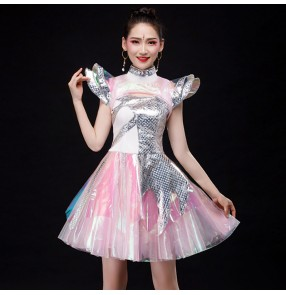 Women's silver with pink sequin jazz dance singers dance dress modern dance gogo dancers stage performance dresses