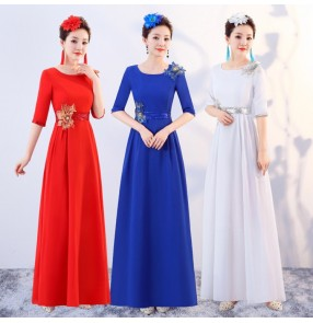 Women's singers chorus evening party dresses stage performance dresses wedding party bridesmaid costumes