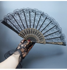 Women's spanish flamenco bull dance lace fans brides wedding photos studio stage performance drama cosplay fans