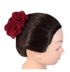 Women's Spanish flamenco dance red flowers latin ballet stage performance hair piece headdress
