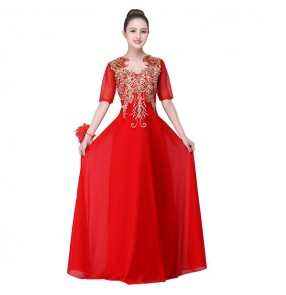 Women's stage performance long dress royal blue red white singers chorus opening dancing party celebration photos performance dreses