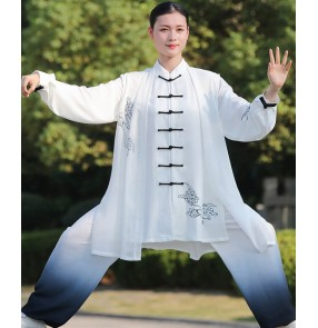 Women's Tai Chi kungfu uniforms gradient color martial arts performance competition wushu clothing