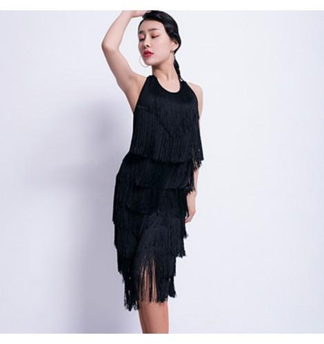 Tassel Latin Dance Dress Clothing Salsa Costume Ballroom Competition Skirt/3 Ballroom Adult Dancewear