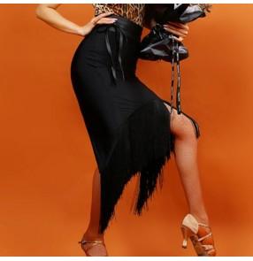 Women's tassels latin dancing skirts  female black salsa rumba chacha dancing long length fringes skirts