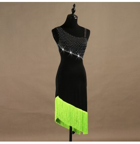 Women's tassels latin dresses for girls female competition professional neon with black patchwork rhinestones rumba chacha dance dresses