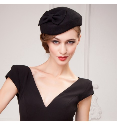 a928b4def53 Women s top hat 100% wool free size pillbox hat fuchsia black red ...