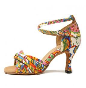 Women's totem printed latin dance shoes ballroom tango waltz dance shoes sandals 7.5cm heel