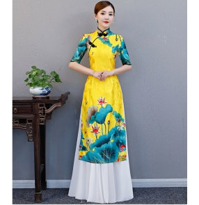 Women's traditional Chinese dresses yellow printed qipao cheongsame evening dresses