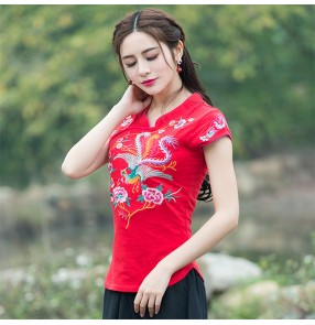Women's traditional Chinese retro blouses plus size embroidered pattern short sleeves shirts tops
