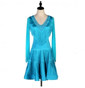Women's turquoise competition latin dance dress salsa dance dress