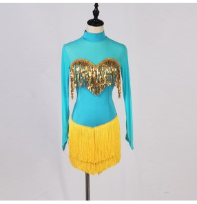 women's turquoise yellow sequins tassels latin dance dresses rumba chacha dance dresses latin dance costumes for female