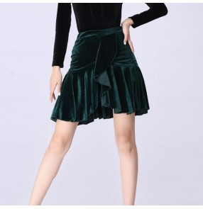 Women's velvet black red wine latin salsa rumba chacha dance skirts stage performance pratice dance skirts for female