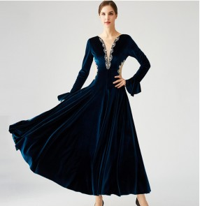 Women's velvet wine blue black ballroom dance dresses long sleeves diamond competition professional waltz tango dance dresses waltz dance gown fo female