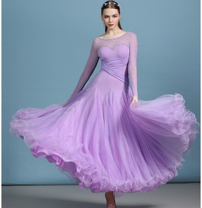Women's violet navy competiiton stones ballroom dancing dresses stage performance waltz tango dance dresses