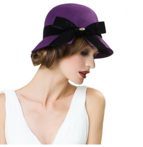 Women's violet red grey black 100% Australian wool  bow knot  bucket hat fedoras wedding party hat