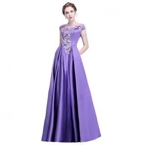 Women's violet satin evening cocktail party wedding bridesmaid stage performance host singers performance dresses