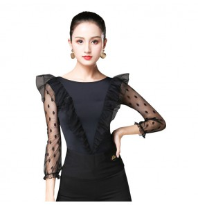 Women's waltz tango ballroom dance tops black color polka dot sleeves competition latin chacha dancing blouses