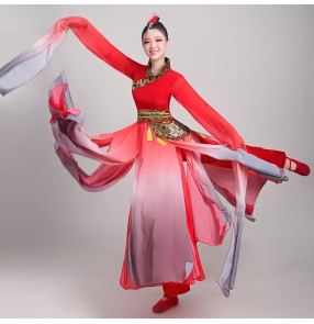 Women's water sleeves chinese folk dance dress hanfu traditional classical red gradient fairy princess dance costumes for female