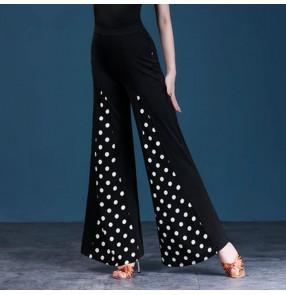 Women's white polka dot ballroom latin dance long pants salsa rumba chacha dance stage performance swing pants