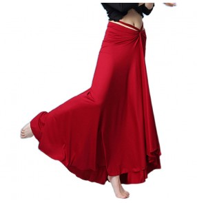 Women's wine black belly dance skirts modern dance stage performance fitness ballet dance long skirts