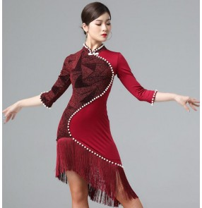 Women's wine gold fringes latin dance dress chinese qipao dresses modern dance salsa rumba chacha dance dress costumes