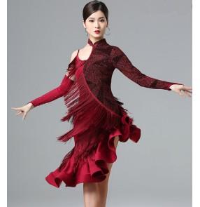 Women's wine gold tassels latin dance dress stage performance salsa rumba chacha dance dress costumes